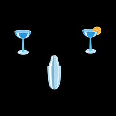 The bartender set the shaker and cocktails