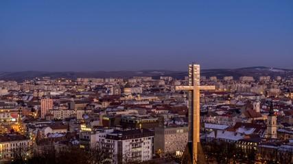 night falling over Cluj Napoca