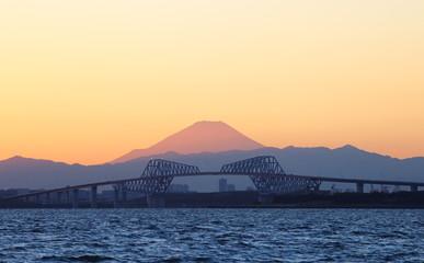 View of Tokyo bay with Tokyo gate bridge and Mountain Fuji