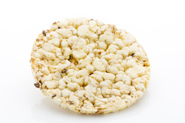 Corn crackers on the isolated white background.