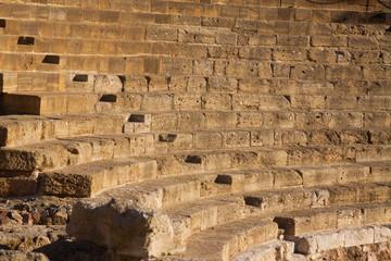 Closeup of ruin of Antique Roman Theatre