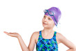 Portrait of a young girl in goggles and swimming cap. - 78569033