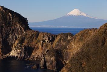 Mountain Fuji and sea from Izu city Shizuoka prefecture , Japan