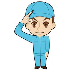 敬礼する帽子の作業者