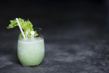 cucumber celery and  lettuce juice in glass