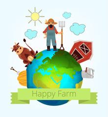 Vector happy farm illustration