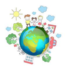 Planet earth. Happy family. Vector illustration
