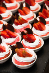 strawberry dessert in mini plate.