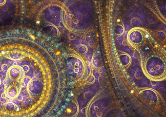 Purple and gold  abstract mechanical fractal