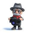 3d Old man with a camera