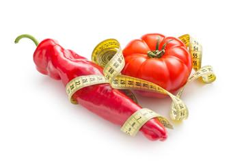 Diet concept. Pepper and tomato.
