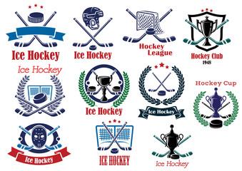 Ice Hockey emblems, symbols and logos set