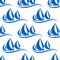 Blue yachts seamless pattern