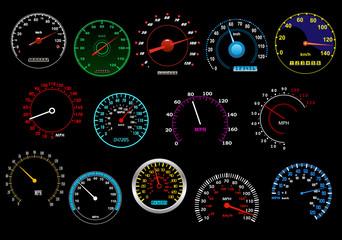 Various speedometers set