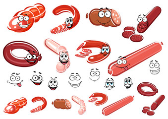 Cartoon sausage, wurst and meat
