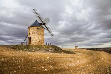 spanish windmills, drammatic sky