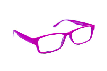 Purple Eye Glasses Isolated on White shallow depth of field and