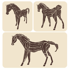 set of different wood horses