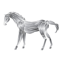 metal horse isolated  on white background