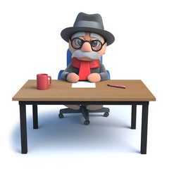 3d Old man sitting at a desk