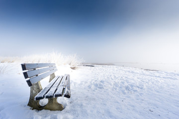 bench with ice (103) lake chiemsee