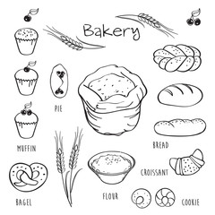 Set of elements for the bakery.