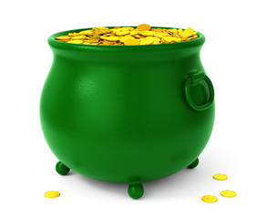 Green pot with coins