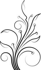Floral branch for design or tattoo