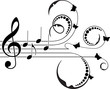 Treble clef with floral decor and butterflies