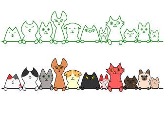猫 一列 コピースペース セット