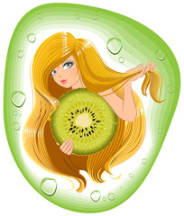 Girl with long hair holds an kiwi fruit