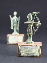 archer bronze statuette and chieftain praying with cloak and sti
