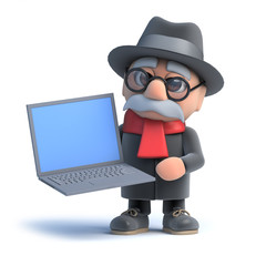 3d Old man holding a laptop