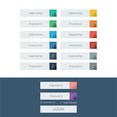 Set of login form line icons in modern flat design with long