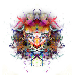 яркий абстрактный фон с львом