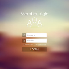 Login form menu with simple line icons. Blurred background