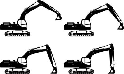 Excavators. Heavy construction machines. Vector illustration