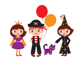 Princess, pirate and a witch with a magic cat.