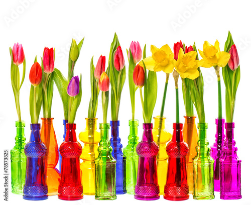 Fotobehang Narcis Tulip and narcissus flowers in colorful vases