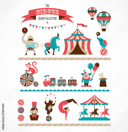 vintage huge circus collection with carnival, fun fair, vector - 78574261