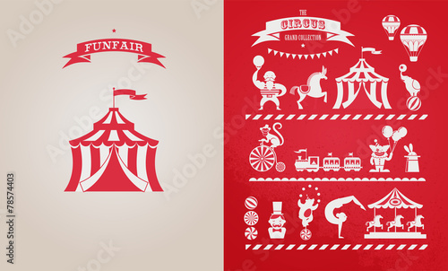 vintage poster with carnival, fun fair, circus vector background - 78574403