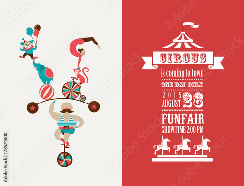 vintage poster with carnival, fun fair, circus vector background - 78574600