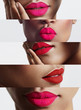 closeup collage of a woman with a bright lips
