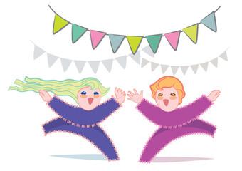 Bambini con bandierine multicolori appese