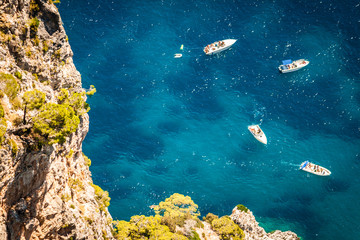 Capri, mediterranean Turquoise sea with boats,Italy, Naples
