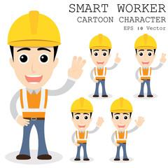 Smart worker cartoon character eps 10 vector illustration