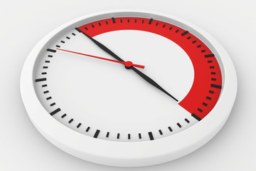 clock with marked border red time