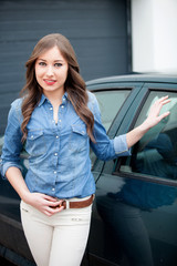 Young girl with his new car