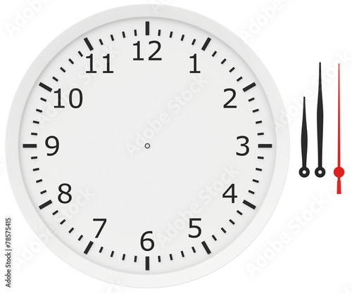 Leinwanddruck Bild template clock with arrows and numbers isolated on a white