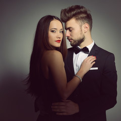 Sexy passion couple in love. Portrait of beautiful young man and